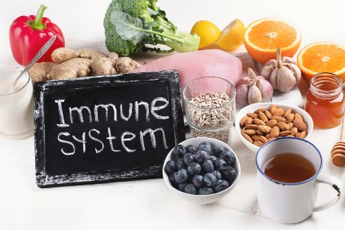 immune system on blackboard with health foods | how to strengthen your immune system | perpetual wellbeing