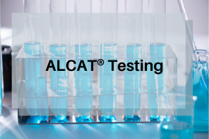 test tubes with words ALCAT testing overlaid | Perpetual Wellbeing